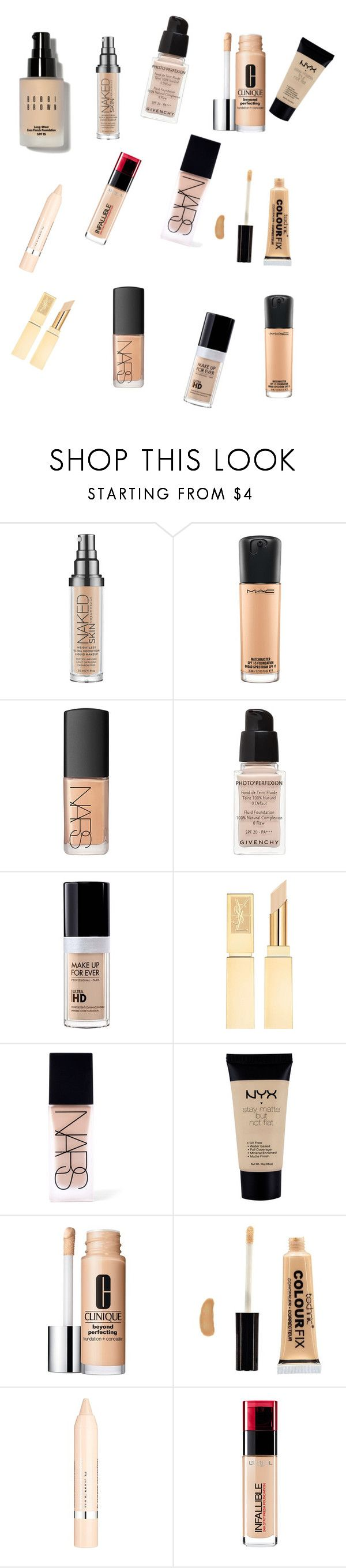 """Fav foundation and concealer 2015"" by richierich716 ❤ liked on Polyvore featuring beauty, Urban Decay, MAC Cosmetics, NARS Cosmetics, Givenchy, MAKE UP FOR EVER, NYX, Clinique, Boohoo and L'Oréal Paris"