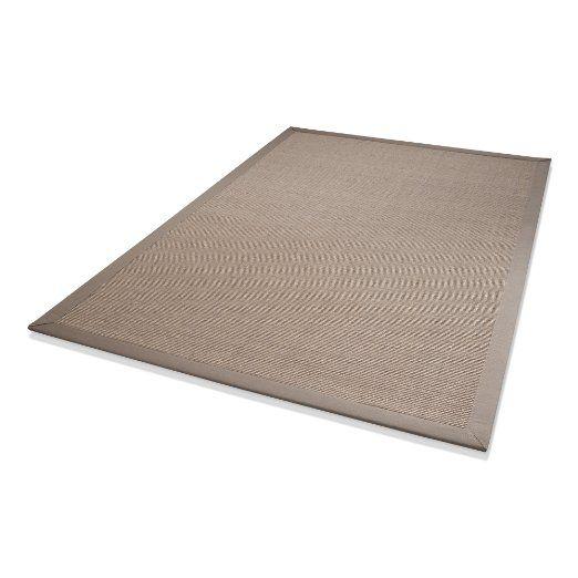 Hometrend, Tappeto in sisal con bordo largo in cotone, 133 x 190 cm, Grigio chiaro: Amazon.it: Fai da te