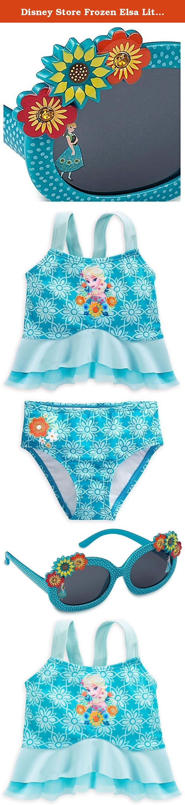 Disney Store Frozen Elsa Little Girls' Deluxe Swimsuit and Sunglasses Set, Size 7/8. After an eternal winter, what better way to relax than enjoying fun in the sun at the beach or pool. This two-piece Elsa Deluxe Swimsuit features Frozen's icy maiden, golden embroidered details and provides UPF 50+ UV protection. Shield those eyes on sunny days in Arendelle with these Frozen sunglasses. Anna and Elsa are pictured on separate lenses, which are framed with molded flowers and a snowy design...