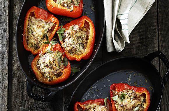 Fyldte peberfrugter med ricotta og skovsvampe