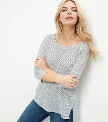 Cream Stripe Batwing Sleeve Step Hem T-Shirt