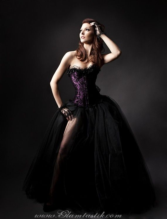 Custom Size plum and black burlesque tulle prom by Glamtastik, $325.00