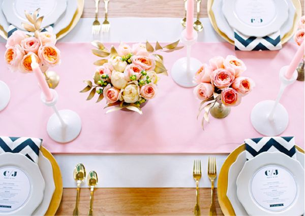 PinkWedding Tables, Tables Sets, Soft Pink, Pale Pink, Chevron Wedding, Gold Accent, Tables Runners, Pink Chevron, Pink Black