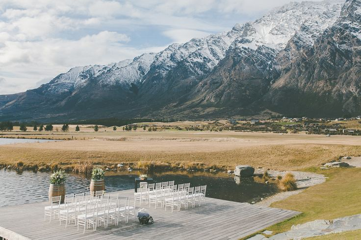 Jacks Point Restaurant wedding in Queenstown NZ with The Remarkables in the backdrop