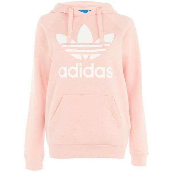 Trefoil Hoodie by Adidas Originals (£77) ❤ liked on Polyvore featuring tops, hoodies, pink, sweatshirt hoodies, pink hooded sweatshirt, adidas trefoil hoodie, cotton hoodies and hooded pullover