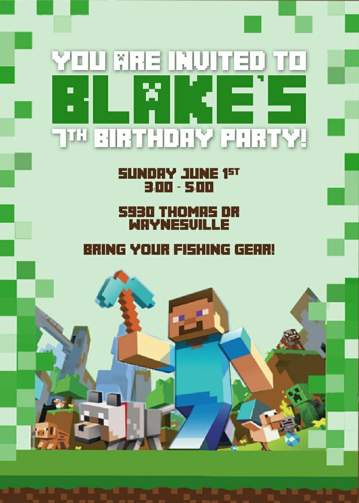 17 best images about minecraft party on pinterest | minecraft, Invitation templates