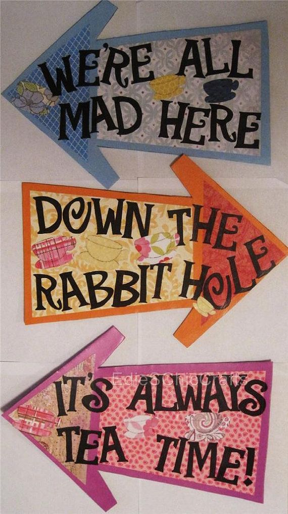 Colorful Alice in Wonderland Arrow Signs (set of three signs) - Mad Hatter Tea Party, Bridal or Baby Shower, Birthday, Children's Party on Etsy, $25.00
