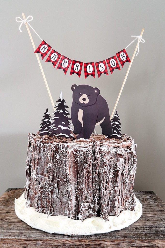 Lumberjack cake from a Baby Bear Lumberjack Birthday Party on Kara's Party Ideas | KarasPartyIdeas.com (27)