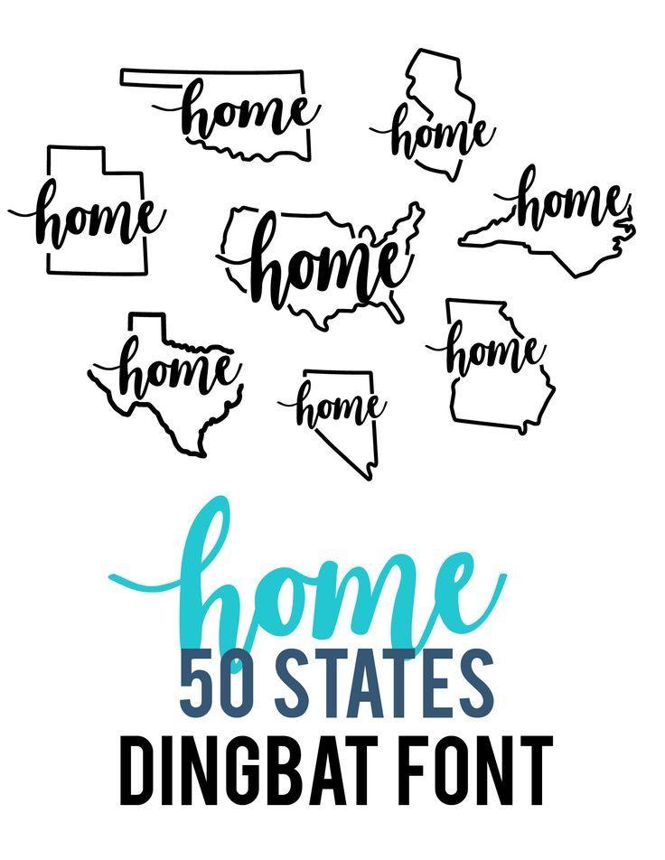 Silhouette Design Store Home 50 States Dingbat Font Cricut Projects Vinyl Lettering Dingbat Fonts