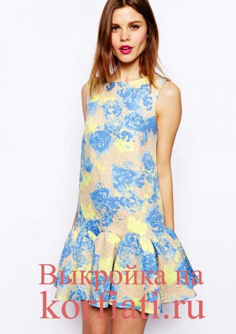Выкройка прямого платья без рукавов - фото