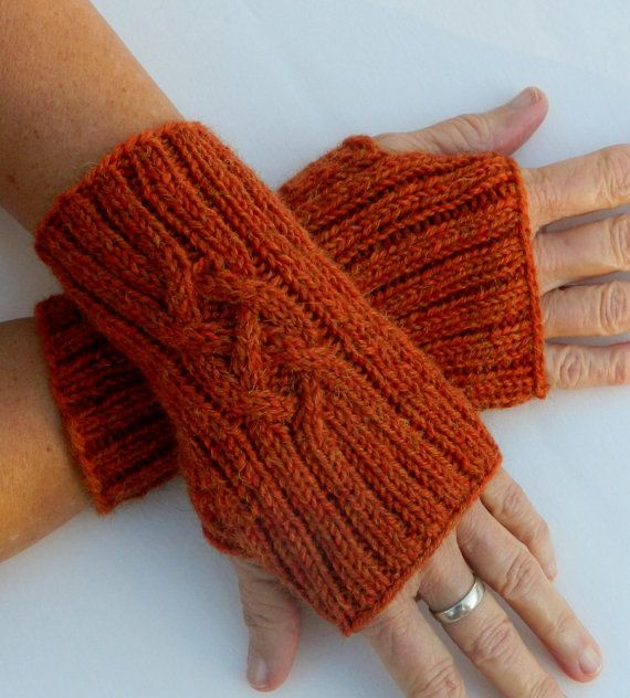 Alpaca Mittens Knitting Pattern : Alpaca Fingerless Gloves - Knitted In Celtic Cable Pattern - Soft Rust Orange...
