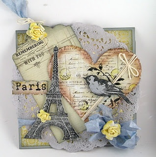 layered, collage card, heart, bird, flowers, Paris, Eiffel Tower
