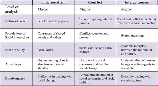 Compare and contrast the functionalist conflict and the interactionist perspectives on the purposes