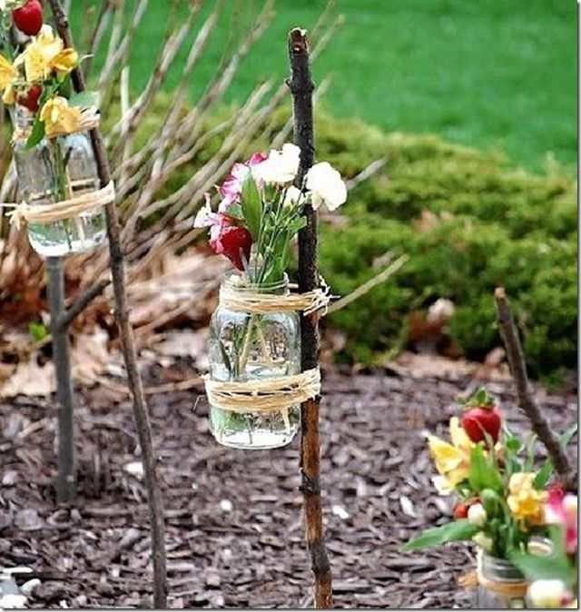 Old Mason Jars? New Outdoor Party Decor! I love this for an outdoor party: Outdoor Wedding, Gardens Decor, Summer Parties, Teas Lights, Branches Vase, Outdoor Parties, Flowers Ideas, Gardens Parties, Mason Jars