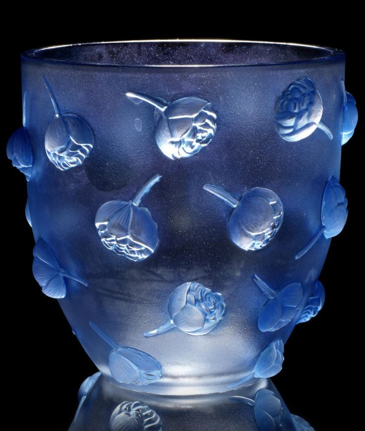 René Lalique  'Pivoines' a Vase, design 1937  frosted glass, heightened with blue staining  16.8cm high, etched 'R. Lalique France'