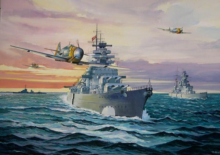 Acorazado Bismarck 1940 acompañado por el crucero Prinz Eugen 1940, Alemania