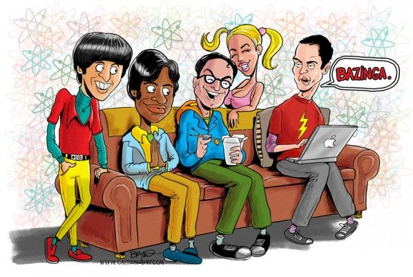Big Bang Theory Cartoon Cast - by artist Bryant Arnold at Cartoon-a-day