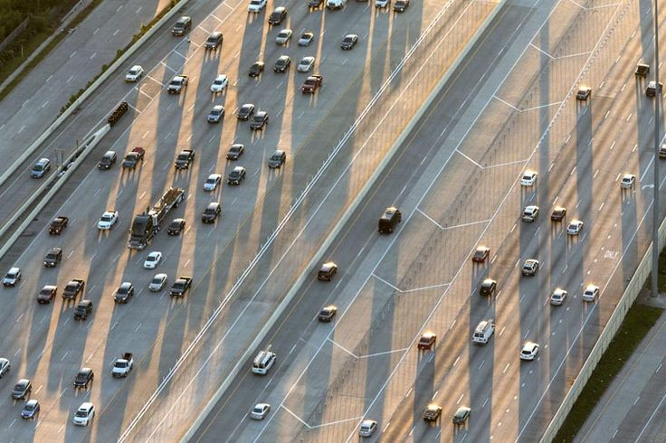 """Houston's Interstate 10 Katy Freeway, Houston, Texas, United States. AECOM was responsible for the engineering and design of these """"managed lanes"""" for toll revenue and HOV access for the City.  Photo © Robb Williamson / AECOM"""