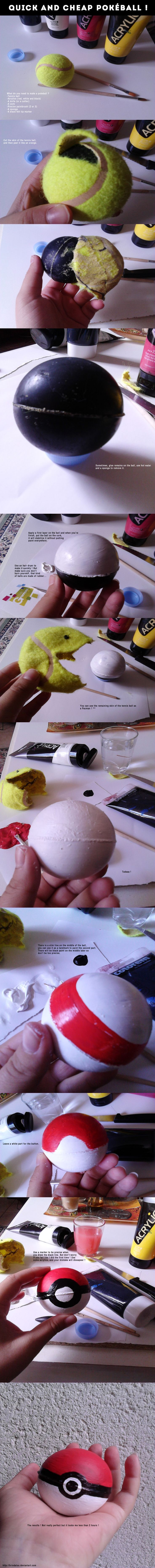 Tutorial. Cheap and quick home-made pokeball ! by brindalou http://brindalou.deviantart.com/art/Tutorial-Cheap-and-quick-home-made-pokeball-371183713