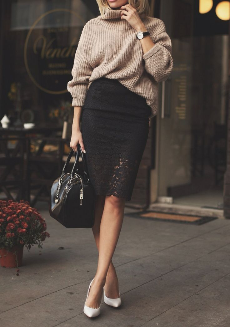 Black lace skirt and beige oversized sweater