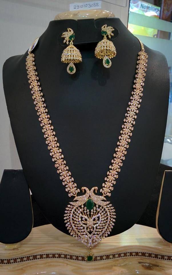 Imitation Gold White Stone Long Necklace Set Gold