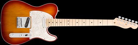 Here it is. The specs I'm looking for. Fender American Deluxe Telecaster® Aged Cherry Sunburst, Maple fretboard