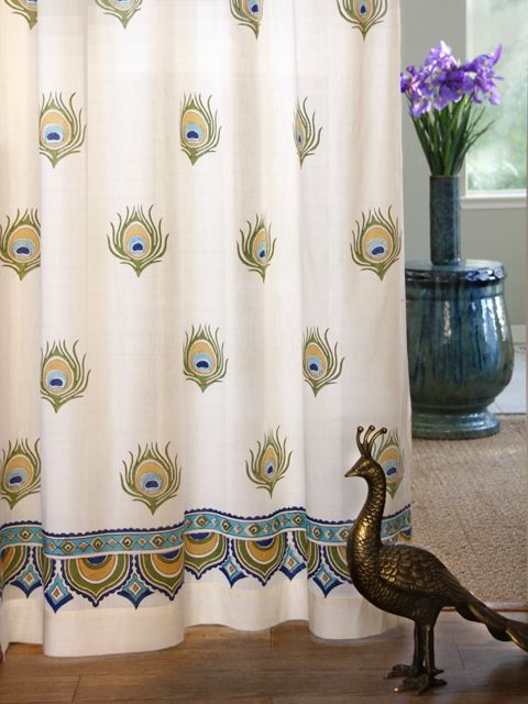 Dance O Peacock~ Ivory Peacock Feather Print India Curtain Panel
