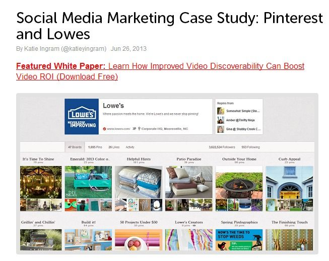 Social Media Marketing Case Study: PInterest and Lowes.