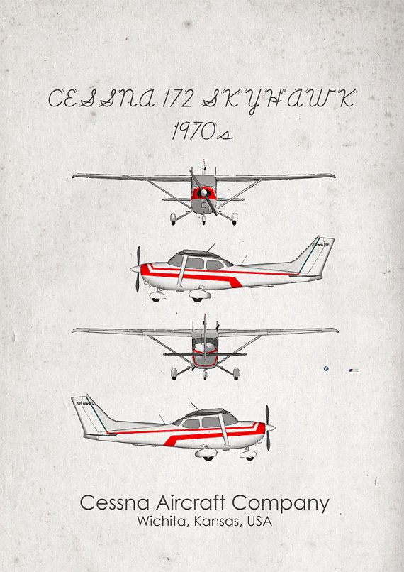 Cessna 172. 1970s'. Aircraft Poster. Wall Art. Aircraft by jbFARM