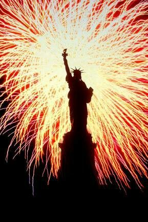 Fourth of July-Statue of Liberty and Fireworks...America - The United States of America - American Flag - Liberty - Justice - Freedom - USA - The US - God Bless America!