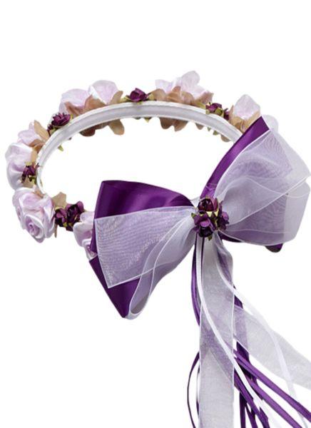 Purple Silk Floral Crown Wreath w Satin Back Bows Girls (HB007)