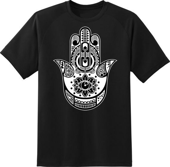 the hamsa hand  white and black t shirt woman size  by ElegantPuss, $18.00