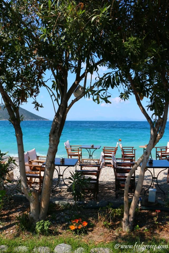 Tables under the shade; photo from Tyros, Arcadia Region