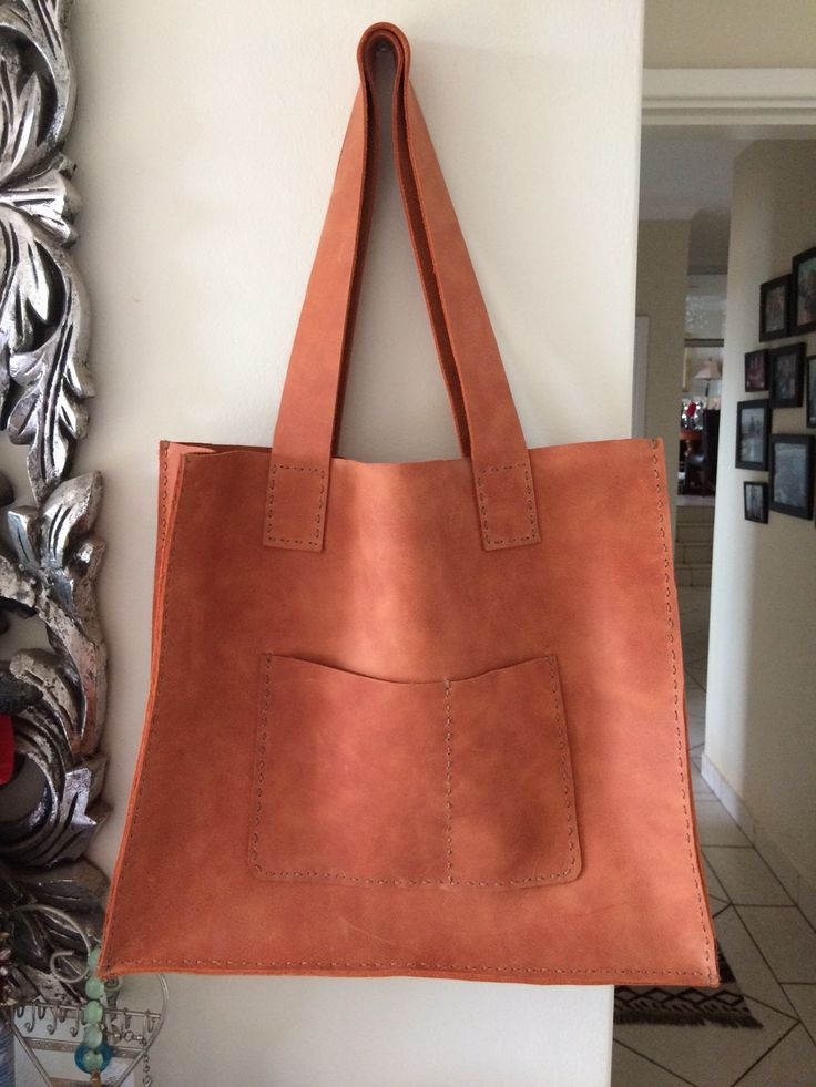 Hand sewn leather shopper.  Looking Sweet!
