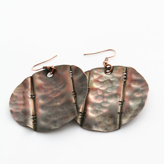 Peep through the fence copper earrings by evasmidt on Etsy, $40.00
