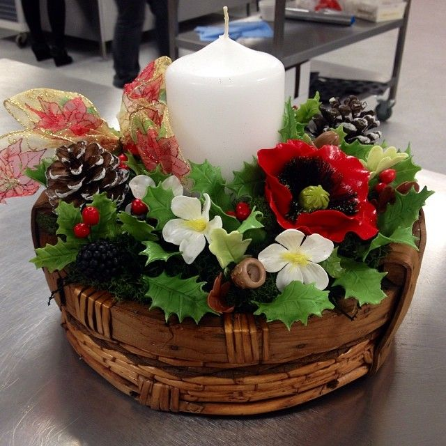 Christmas center piece...wild flowers made from sugar