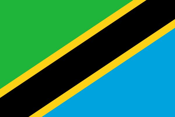 The flag of Tanzania was officially adopted on June 30, 1964.     The green and black, representing the land and people of Tanzania, were taken from the original Tanganyikan flag. The blue, symbolizing the sea, was borrowed from the Zanzibar flag.