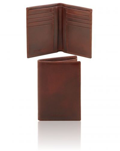 TL141489 Exclusive leather 2 fold vertical wallet for men