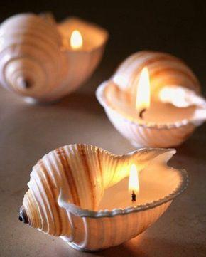 coquilles de mer en guise de bougeoirs, magnifique idée comment fabriquer une bougie originale