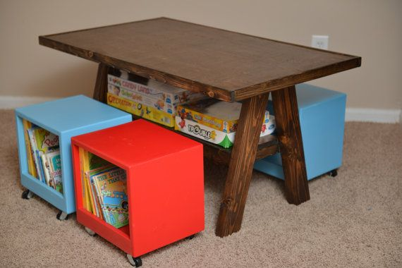Smart for storage!  Children's Table and Chairs by Hoppywoods on Etsy, $250.00