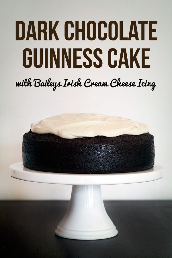 Dark Chocolate Guinness Cake with Baileys Cream Cheese Icing from Love Swah