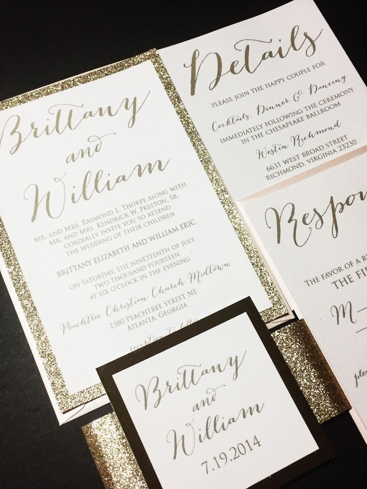 Glitter Wedding Invitation, Luxury Wedding Invitation, Elegant Wedding Invitation, Calligraphy Wedding Invitations - BRITTANY VERSION