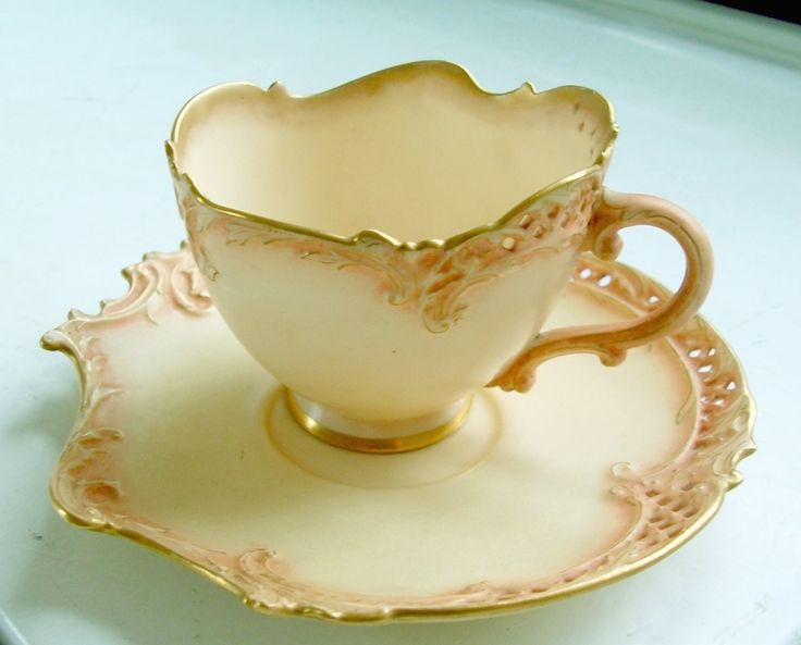 Antique Royal Worcester Cup Saucer England Scalloped Late 1800'S