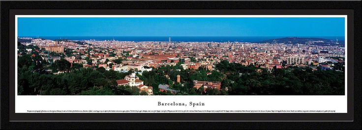 Barcelona Skyline Panoramic Picture Framed, Spain