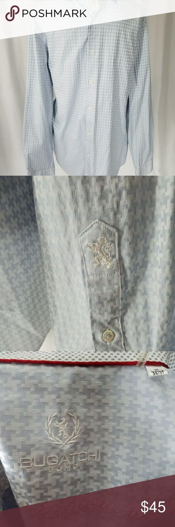Mens Bugatchi Blue Asymmetrical Shirt 17 36/37 Mens buttoned down Bugatchi shirt size 17 36/37. Like new condition. Has Bugatchi symbol on sleeves near cuff.  I bundle all items please ask,thanks again a468 Bugatchi Shirts Dress Shirts