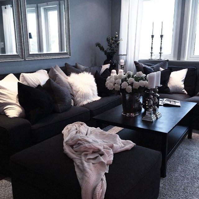 Follow @glam.spo @glam.spo #bossysnob ✨CLICK LINK IN BIO. Dark Living  RoomsSimple Living RoomLiving Room CouchesLiving Room IdeasDark CouchBlack  ...