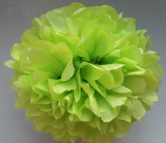 1 Yellow Green Tissue Paper Pom Pom  Wedding by PaperPomPoms