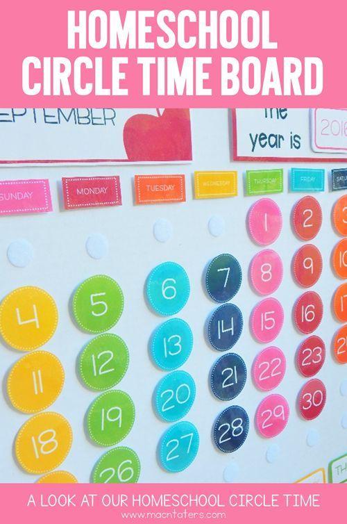 Homeschool Circle Time Board for preschool & kindergarten