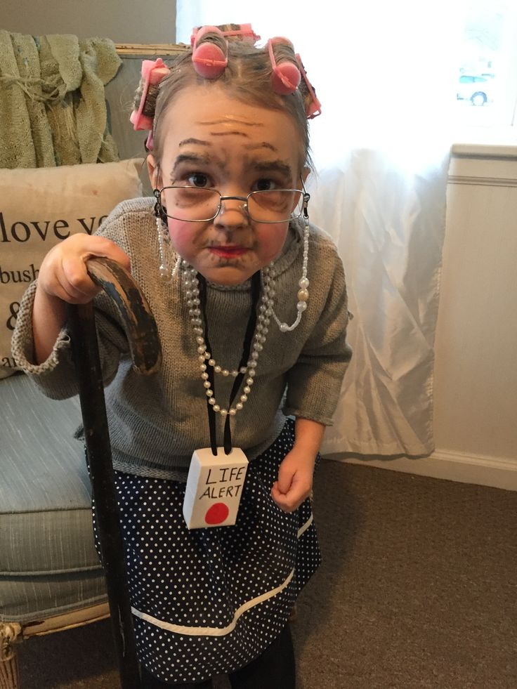 Old lady makeup and costume 100th day of school