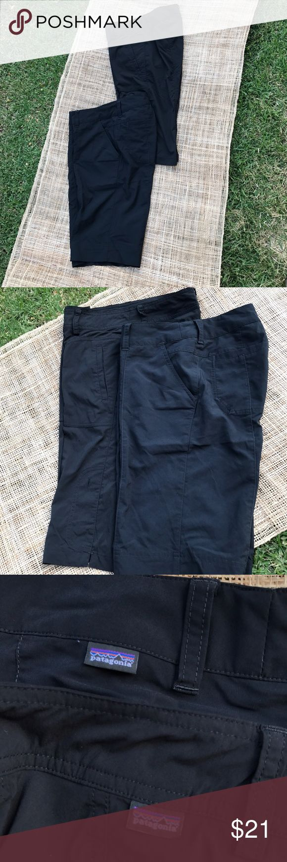 Two Patagonia women's knee length shorts Two pairs of Patagonia women's knee length shorts.  One can be rolled up and buttoned down for a shorter length.  Both are a size 2.  Good condition! Patagonia Shorts Bermudas